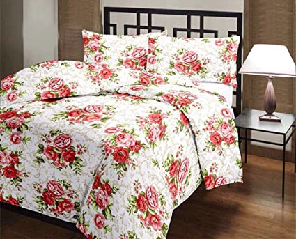 Ss Sales Microfiber Red Bunch Flower Print Double Bed Dohar/Ac Blanket