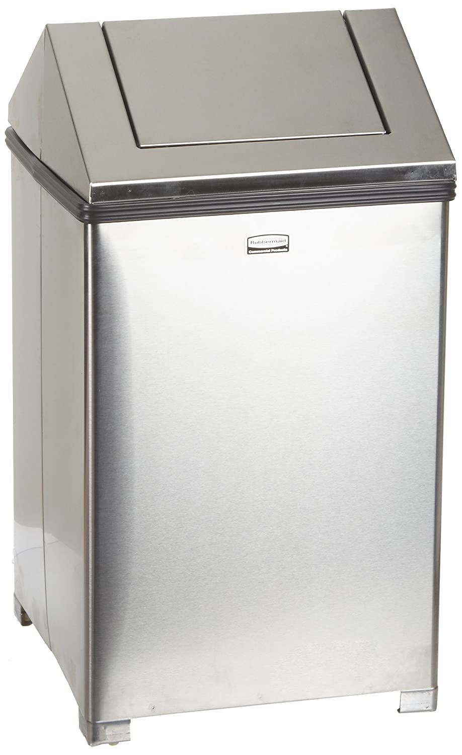 Rubbermaid Commercial FGT1424SSRB WasteMaster Steel Hinged Top Indoor  Utility Trash Can With Retainer Bands, 24 Gallon, Stainless Steel: Waste  Bins: ...