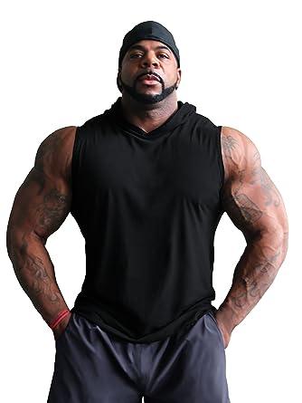 Crazee Wear Sleeveless Hoodie Workout Bodybuilding Mens Black