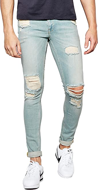 Mens Super Skinny Stretch Jeans Ripped Slim Fit Denim Pants Trouser Size 32-38