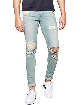 567cdcdd Men's Distressed Wash Denim Blue Super Skinny Fit Slim Jeans With Rips at  Amazon Men's Clothing store: