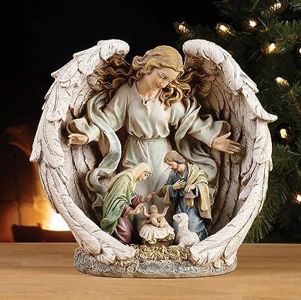 Imagenes Sagrada Familia Navidad.Angel De La Sagrada Familia Navidad Gres De Resina Amazon