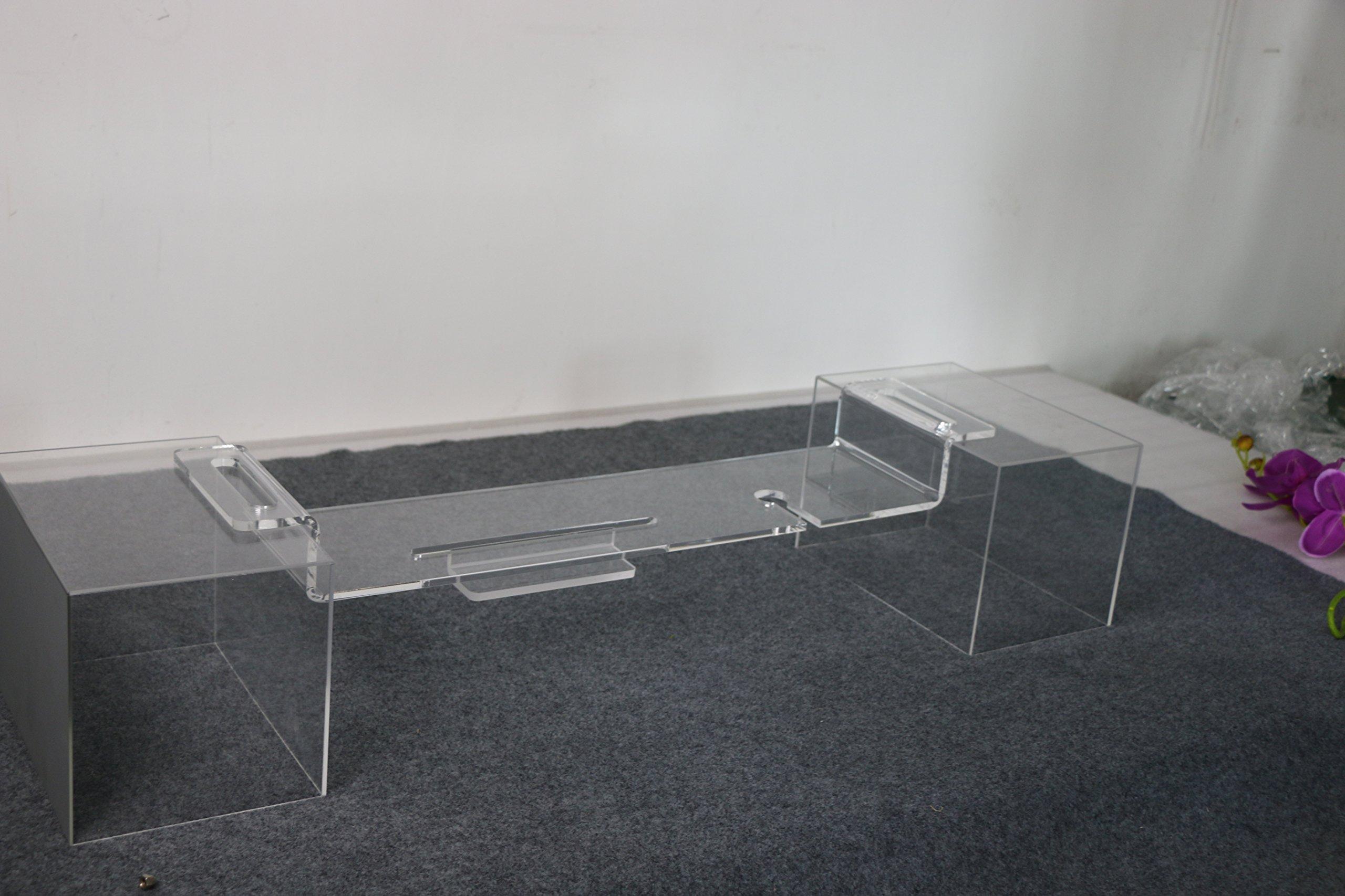 ONELUX Acrylic Bathtub mobilephone/pad Storage Shelf Rack,Lucite Bathroom Wine Glass Holder Tray -(74W18D, Clear)