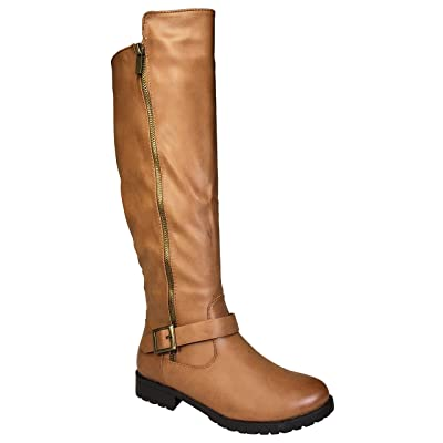 BAMBOO Women's Low Heel Riding Boot with Side Zipper and Buckled Strap, Tan PU, 5.5 B (M) US   Boots