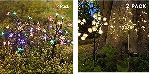 Jack & Rose Solar Christmas Lights Outdoor Decorative Bundle, Solar Garden Lights, Beautiful Fairy Flower Lights, Solar Powered Garden Lights for Walkway Patio Yard