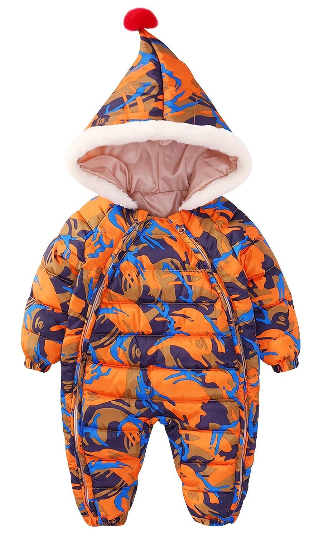 Happy Cherry Doudoune Orange Combinaison de Neige Bébé Garçon Fille Barboteuse Body à Capuche Enfant Automne Hiver Chaud Epais 6-12 Mois Camouflage