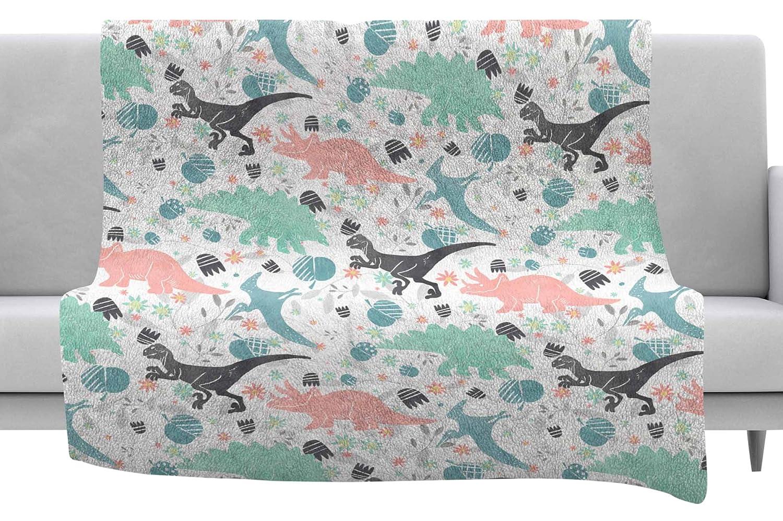 40 x 30 Fleece Blanket Kess InHouse Melissa Armstrong Florasaurus Multicolor Pink Digital Throw