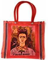 Frida Kahlo Tote Bag, Grocery Shopping Bag, Mexican Grocery Bag, Mexican Folk Art, 100% Recycled from Plastic Bottles, Eco-Friendly Bag, Large Grocery Bag, Bolsas, Mandado (RED)