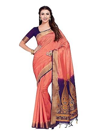 6bcfbe7923dd0c MIMOSA Women's Art Silk Kanjivaram Saree with Contrast Blouse (108, Orange,  Free Size): Amazon.in: Clothing & Accessories