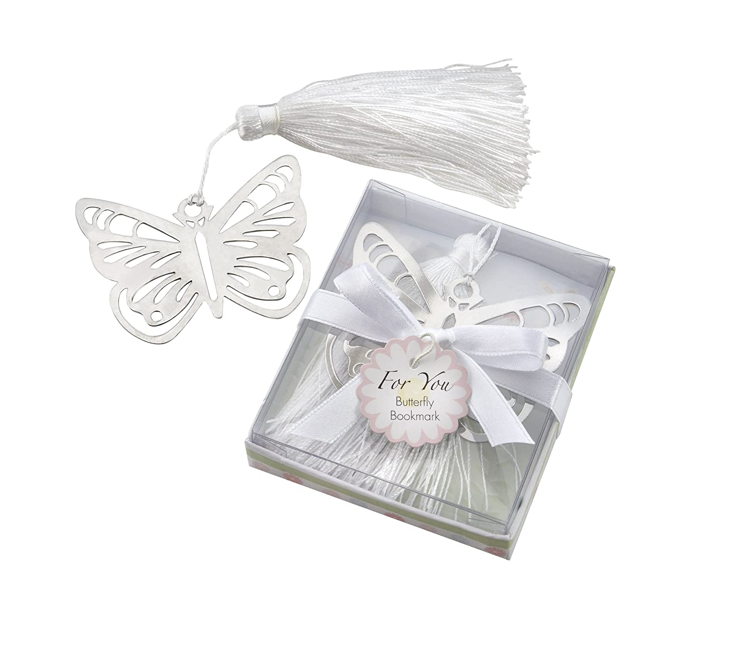 Amazon.com: Butterfly Silver-Metal Bookmark with White Silk Tassel ...