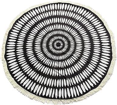 CAMTOA 150 cm Hippie toalla de playa redonda algodón Blend, toalla Mandala, toalla de playa Bohemia, alfombra Yoga redonda, (blanco y negro): Amazon.es: Ropa y accesorios