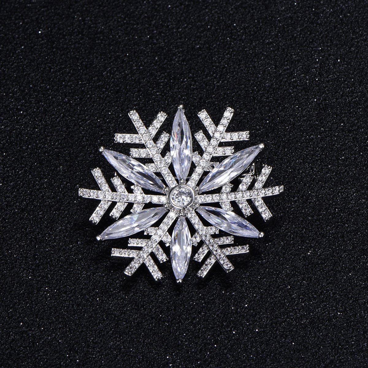 Snowflake Brooch Pins for Women,Dazzling Rhinestone Brooch for Brides Copper Vintage Crystal Brooch Girls CZ Brooch for Wedding,Party (Silver Plated Snowflake) by YOYOMA (Image #3)