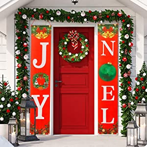 Sunshine Christmas Decorations Outdoor - Joy Noel Porch Signs Banners Holiday Decor - Red Xmas Decor Banners for Home Wall Door Apartment Party
