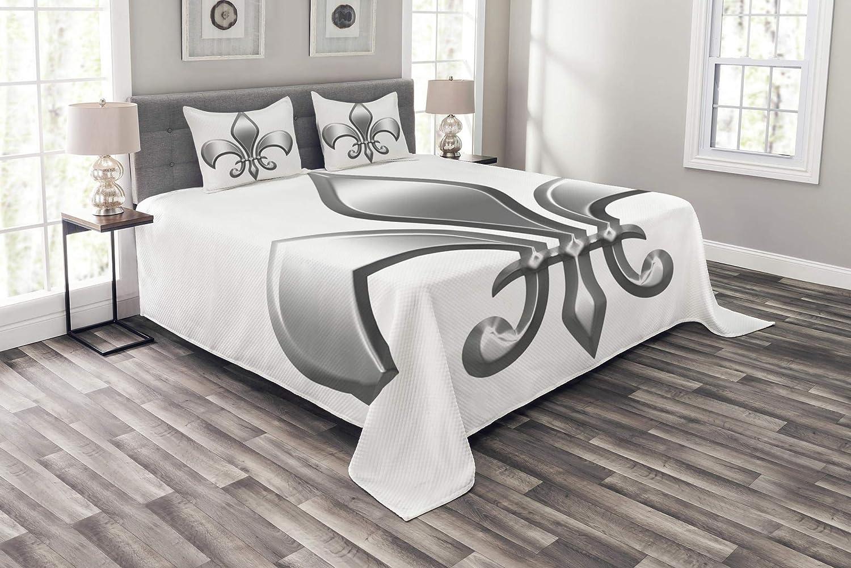 Ambesonne フルールドリス ベッドスプレッド リリー フラワーシンボル 夜明け ヨーロッパのアイリス アイコン 装飾キルトカバーセット 枕カバー付き ホワイトシルバー キング bed_14858_king B07JG9L1T7 マルチ1 キング