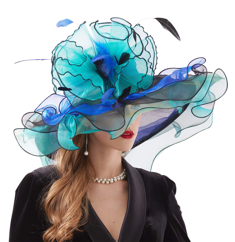 Bellady Women Organza Church Derby Hat Ruffles Wide Brim Summer Bridal Cap,Blue Derby Day Hats,One Size by Bellady (Image #3)