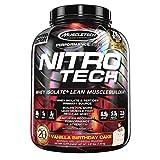 MuscleTech Nitro-Tech Protein Powder, Vanilla Birthday Cake, 4 Pound