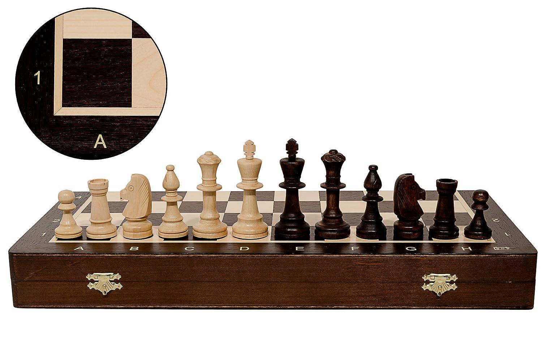 WENGE professionale di alta classe No.5 48cm / 19in Set di scacchi in legno. Scacchiere WENGE & Sycamore intarsiate e pezzi STAUNTON ponderati Master of Trading