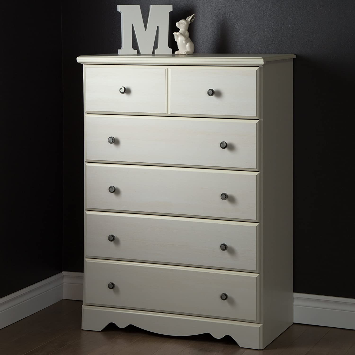 South Shore Furniture Country Poetry 5-Drawer Chest, White Wash 9031035