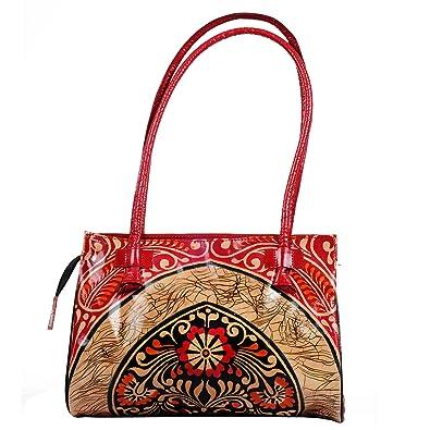 0fb9e7a2ea ZINT Batic Designed Leather Shantiniketan Boho Style Handbag Red  Handbags   Amazon.com