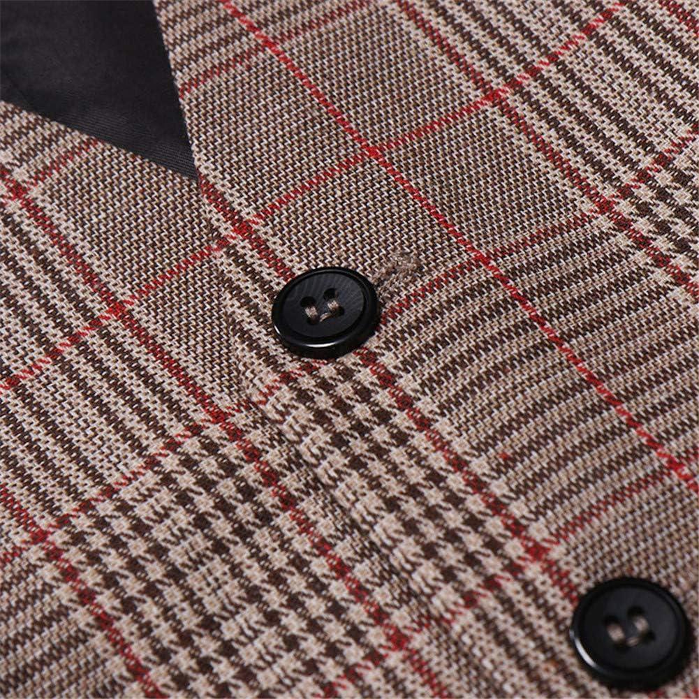 suit women Mens Business Suit Vest V Neck Button Down Casual Wedding Waistcoat Top Plaid