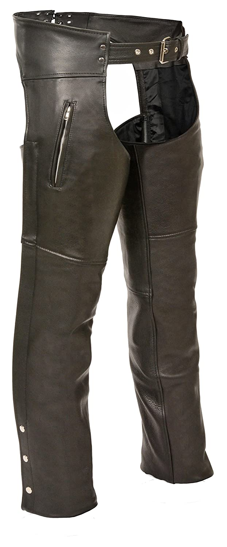 Milwaukee Leather Zippered Thigh Pocket Chaps Black, XX-Small