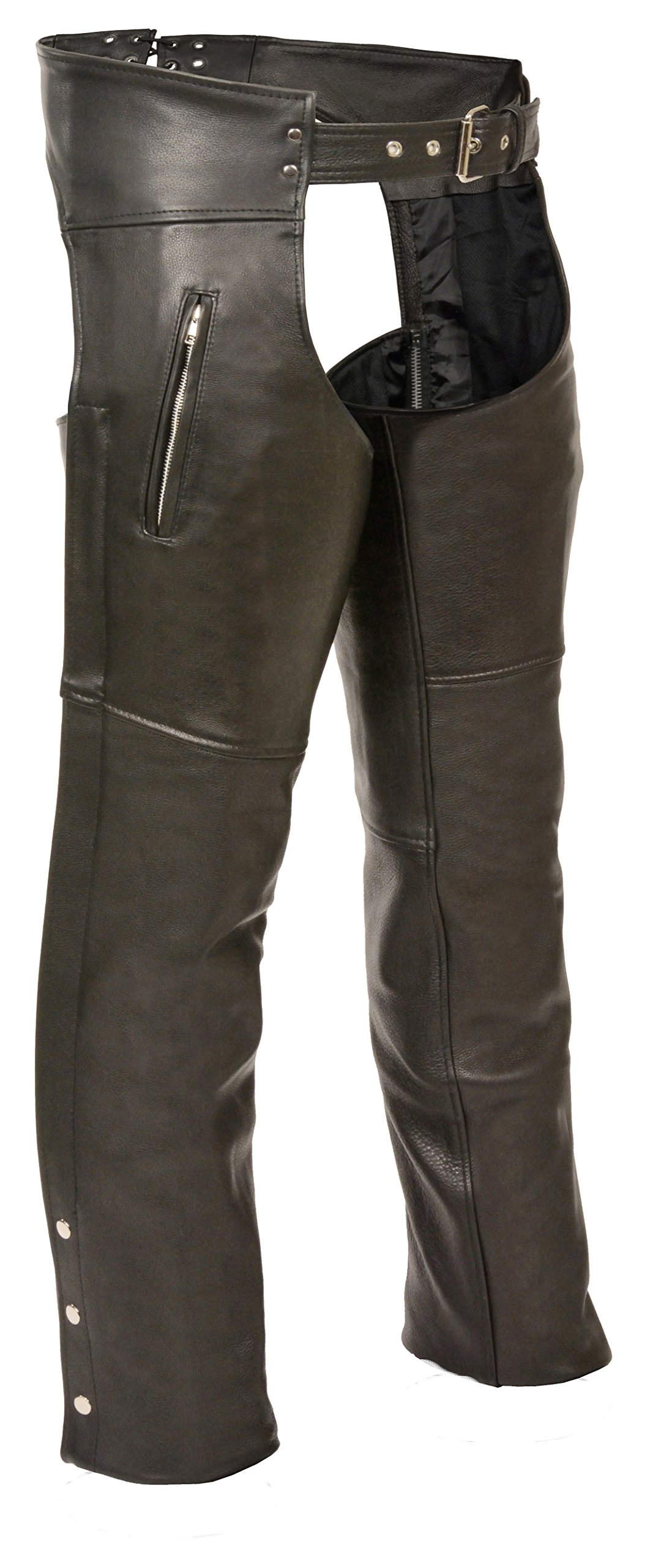 LEATHER KING Zippered Thigh Pocket Chaps (Black, 10X-Large)