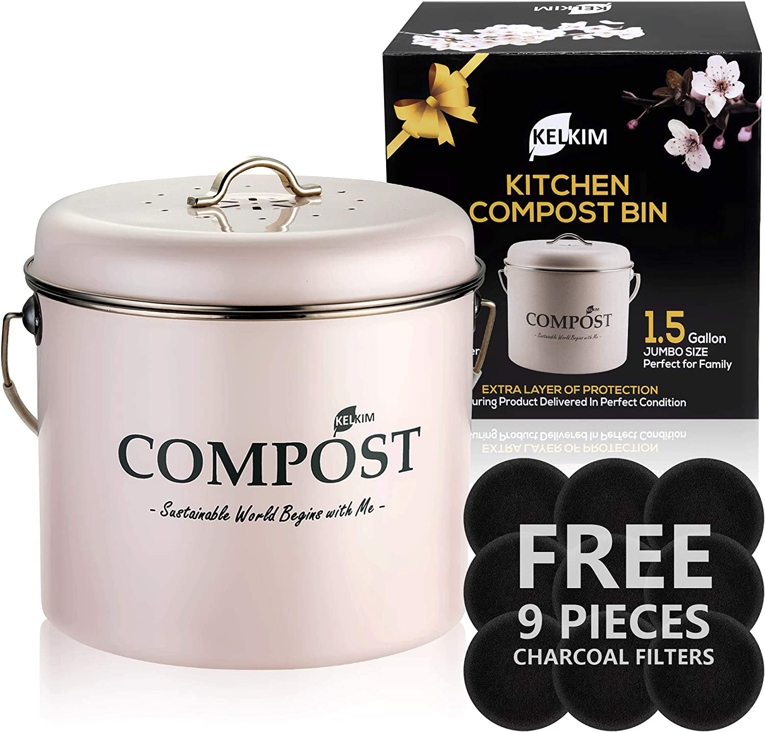 Kitchen Compost Bin 9 Bonus Charcoal Filters | Vintage Rustproof | Large Size 1.5 Gallon | Countertop Compost Container | Indoor Pink Recycling Caddy | Scraps Bucket Trash Pail with Airtight Lid