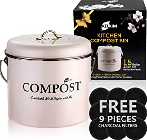 Kitchen Compost Bin 9 Bonus Charcoal Filters   Vintage Rustproof   Large Size 1.5 Gallon   Countertop Compost Container   Indoor Pink Recycling Caddy   Scraps Bucket Trash Pail with Airtight Lid