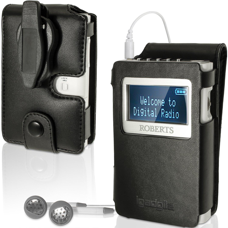 Funda para Radio Roberts Sports Dab 3 con clip para cintur/ón extra/íble iGadgitz U3001 cuero negro