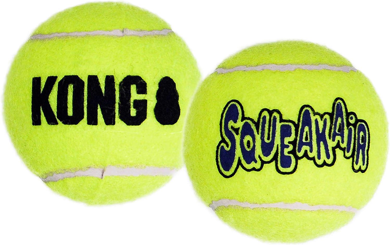 KONG - Squeakair® Ball - Pelotas de tenis sonoras que respetan sus dientes - Raza mediana