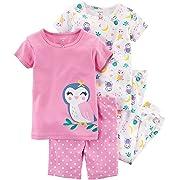 Carter's Girls' 6M-5T 4 Piece Owl Pajama Set 2T