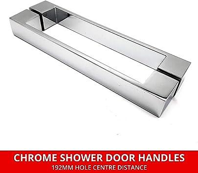 Par de manijas cromadas para puerta de ducha | Orificios centrales ...