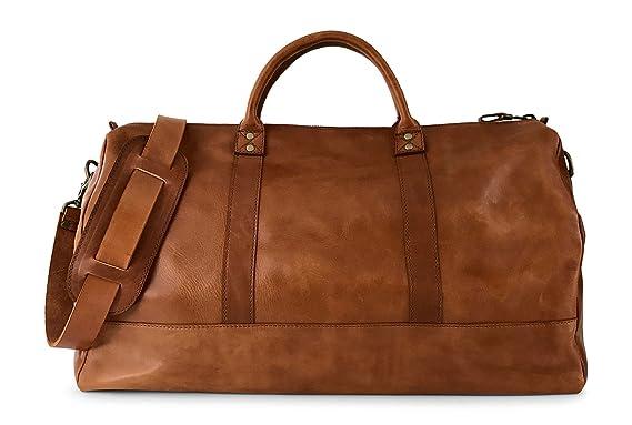 fd4d7ce42 Vintage Full Grain Leather Duffle Bag & Weekend Carryall by Jackson Wayne  (Saddle ...