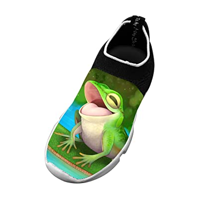 3D Printed Unisex Fly knit Frog Shoes Kids Lightweight Mesh Breathable Cozy Sports Sneakers