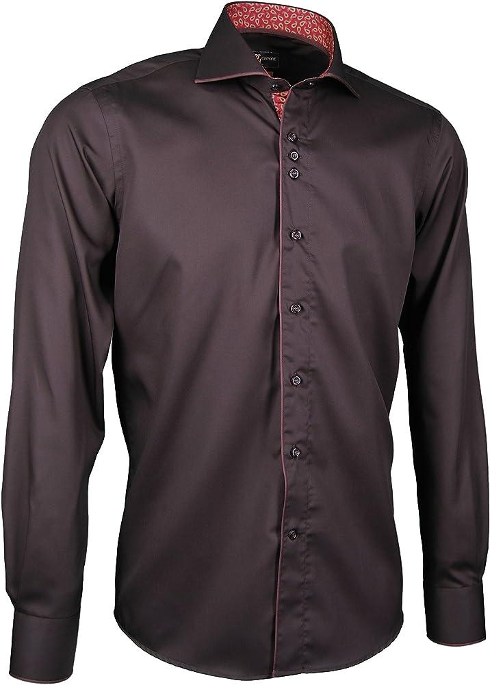 Giorgio Capone camisa premium para hombre, marrón, 100% algodon, Slim/Normal & Regular-Plus Fit (S Slim): Amazon.es: Ropa y accesorios