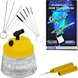 Master Airbrush 13 Piece Airbrush Cleaning Kit - Glass Cleaning Pot Jar with Holder, 5 pc Cleaning Needles, 5 pc Cleaning Brushes, 1 Wash Needle, & How to Book
