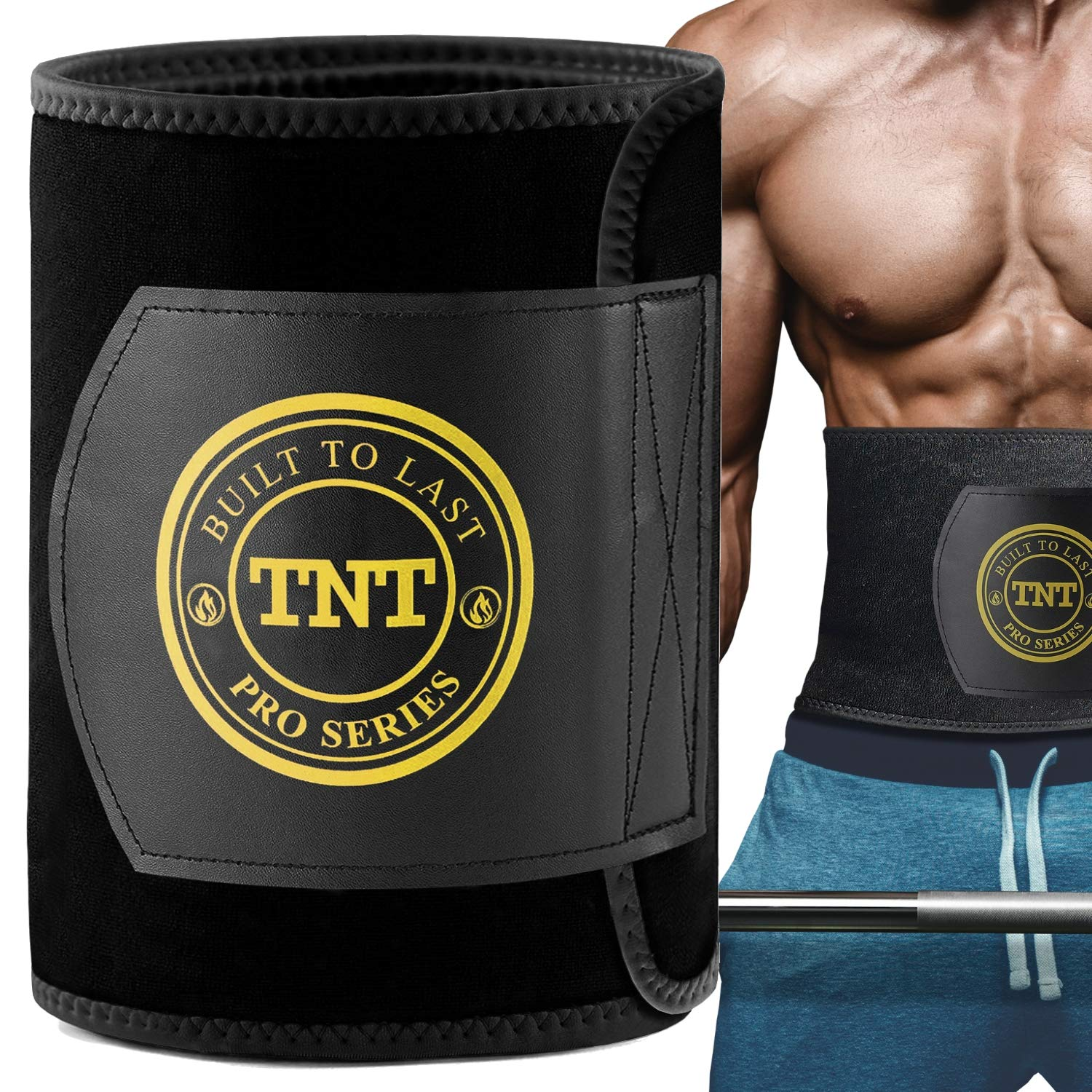 TNT Pro Series Waist Trimmer Weight Loss Ab Belt - Premium Stomach Fat Burner Wrap and Waist Trainer (X-Large, Yellow)