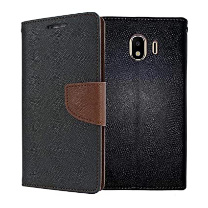 new concept b45b6 baec6 ORC Galaxy J4 Flip Cover - Luxury Mercury Diary Wallet Style, with Magnetic  Flip Cover for Samsung Galaxy J4 (Black:Brown)