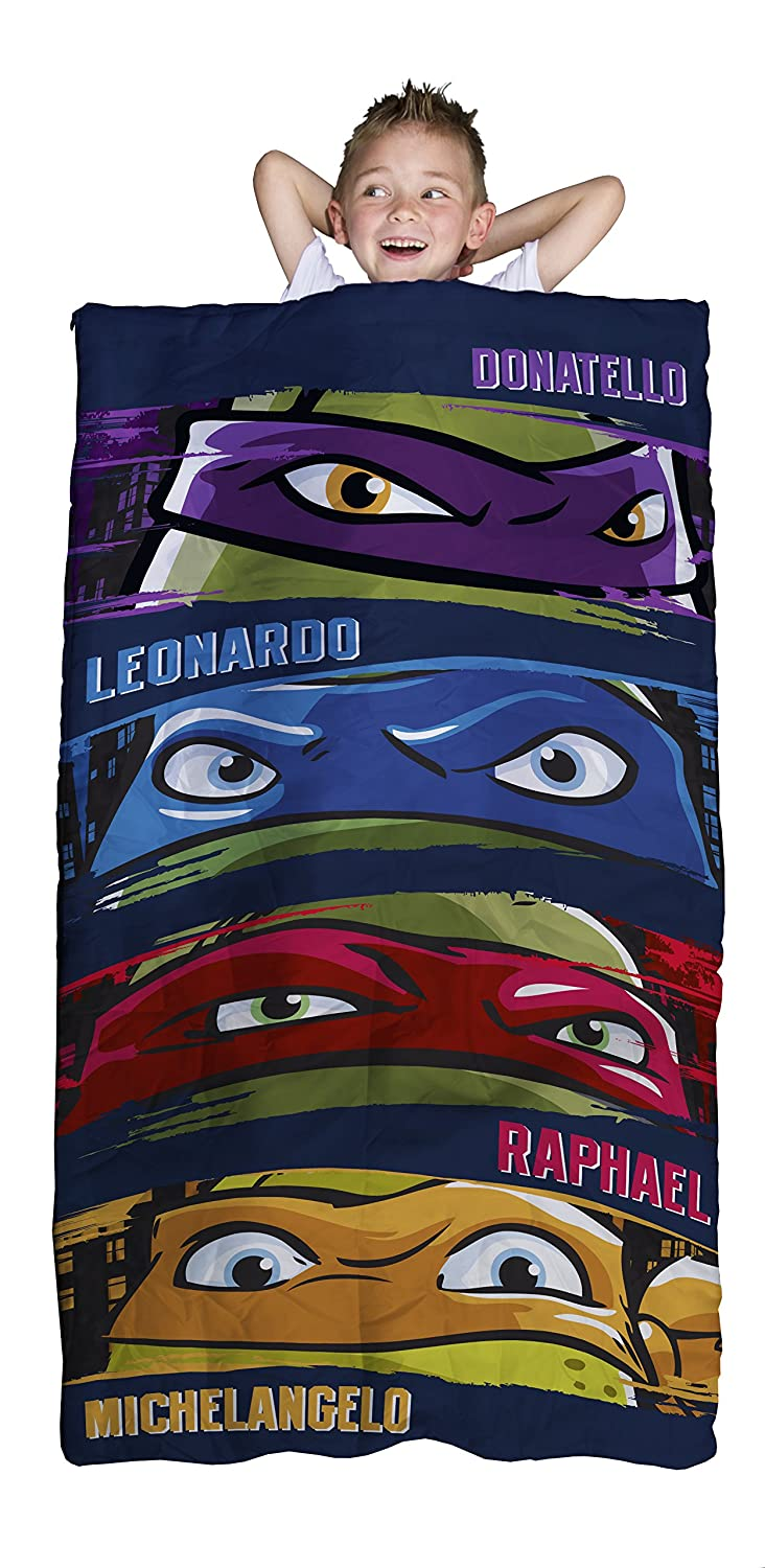 Nickelodeon Teenage Mutant Ninja Turtles Slumber Bag, Bonus Backpack with Straps, Turtle Faces Jay Franco and Sons Inc. JF23176ECD