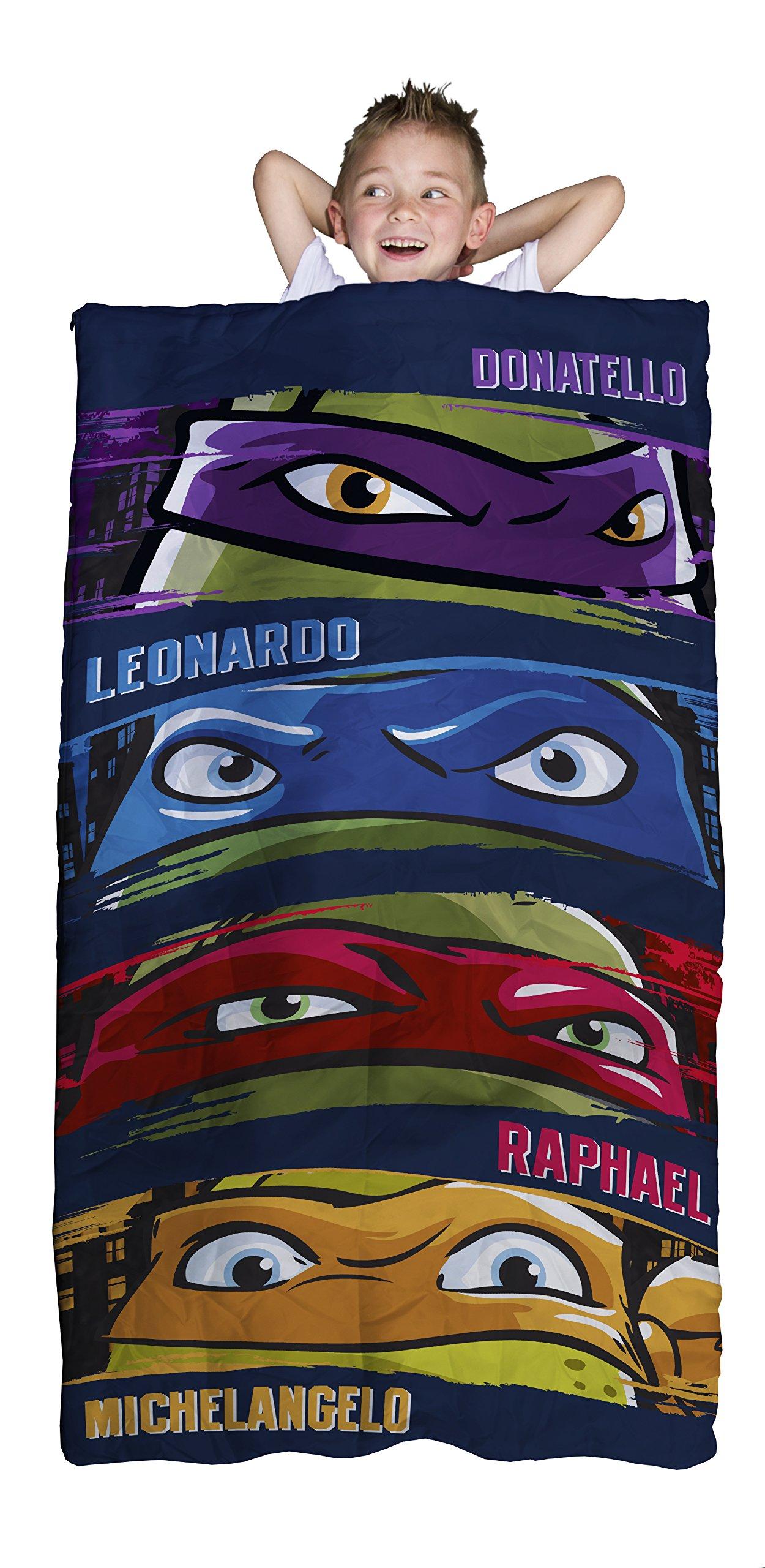Nickelodeon Teenage Mutant Ninja Turtles Slumber Bag, Bonus Backpack with Straps, Turtle Faces