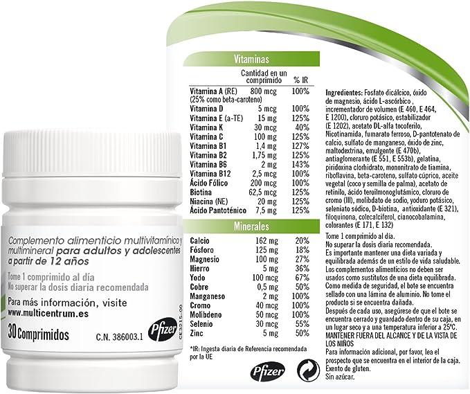 Multicentrum Adulto Complemento Alimenticio con 13 Vitaminas y 11 ...