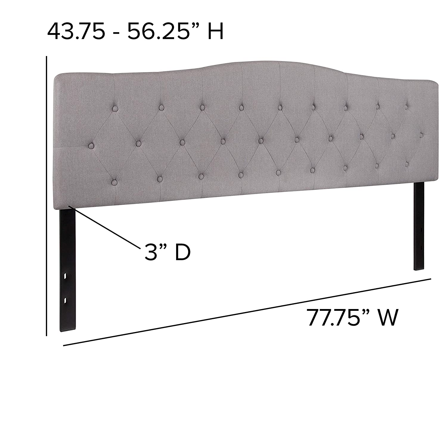 Flash Furniture Cambridge Tufted Upholstered Twin Size Headboard in Light Gray Fabric