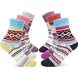 Gifort Calcetines de Lana, 6 Pares Mujer Calcetines de Lana Cálidos de Confort Casual de Mujer de Invierno Vintage…