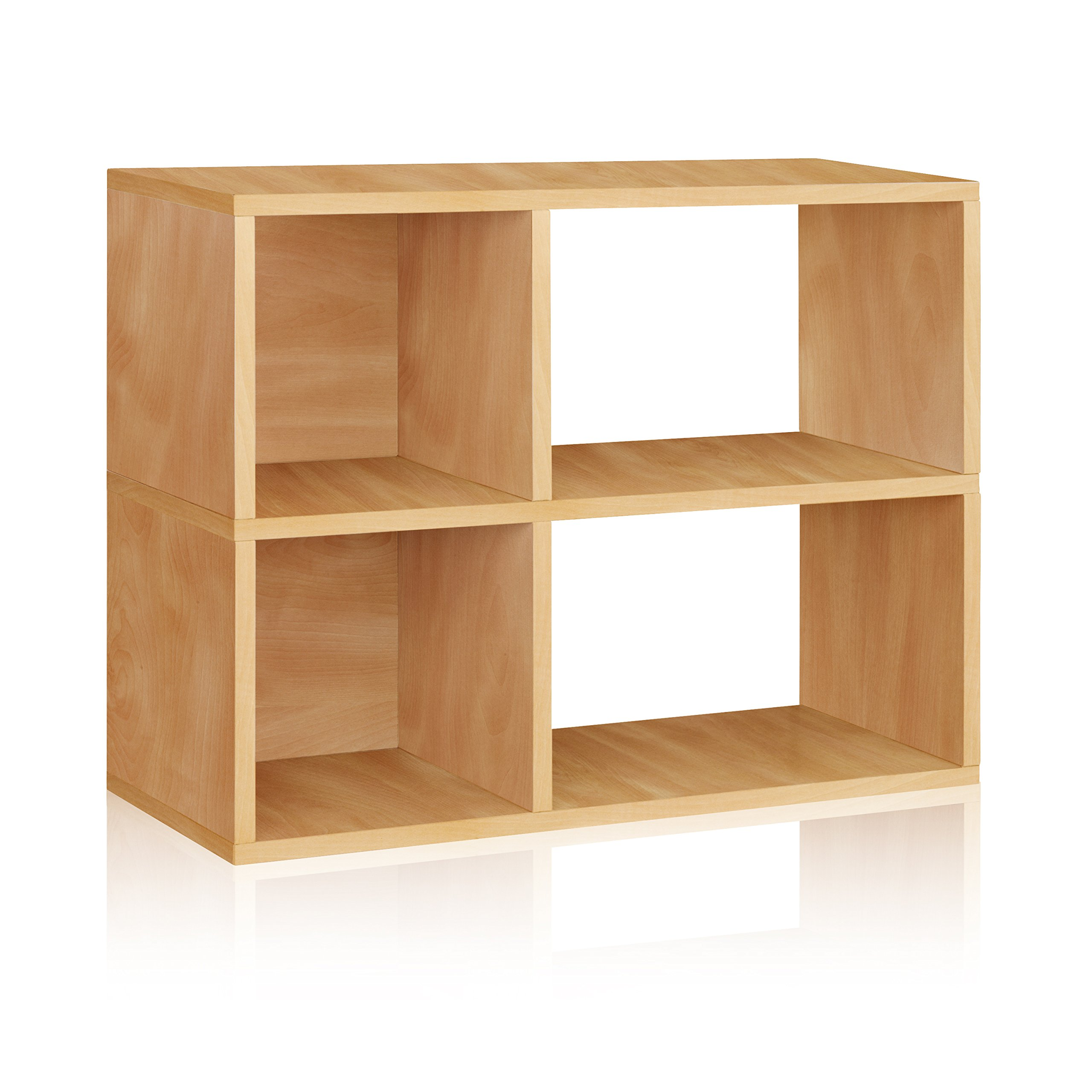Way Basics Eco 2 Shelf Chelsea Bookcase and Cubby Storage, Natural (made from sustainable non-toxic zBoard paperboard)