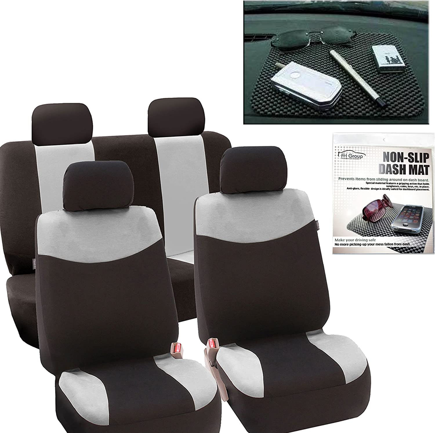 FH Group FH-FB056114 Modern Flat Cloth Car Seat Covers Gray Color FH1002 Non-Slip Dash Grip Pad- Fit Most Car, Truck, SUV, or Van