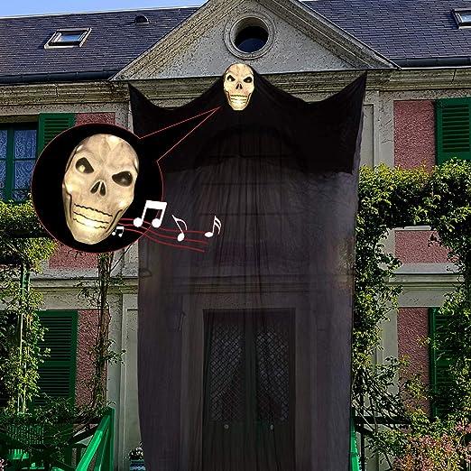 Sjehome Halloween Deko Horror Animierter Hangender Geist Mit Led Und Sound Bewegungsmelder Dekoration Fur Halloween Kinder Party Aussen Garten Amazon De Kuche Haushalt
