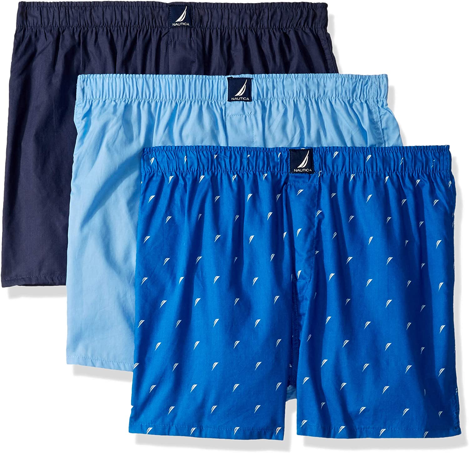Nautica Men's Cotton Woven 3 Pack Boxer