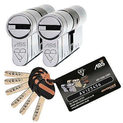 Par de cerraduras para puerta de cilindro Avocet ABS con juego de llaves iguales certificadas 3