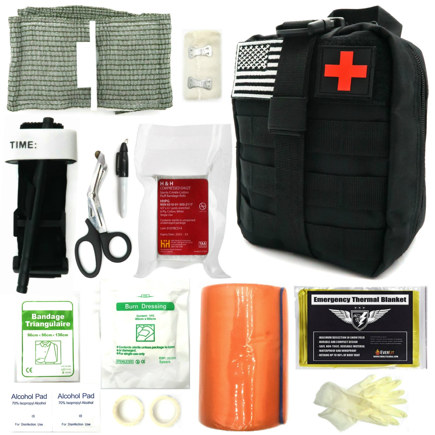 Everlit Emergency Survival Trauma Kit with Tourniquet 36'' Splint, Military Combat Tactical IFAK for First Aid Response, Critical Wounds, Gun Shots, Blow Out, Severe Bleeding Control and More (Black)