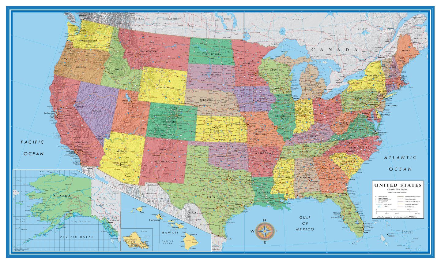 24x36 United States, USA Classic Elite Wall Map Mural Poster (Paper Rolled)